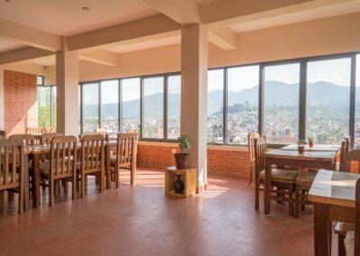 Kathmandu Yoga Retreat Dining Hall Overlooking Himalayas