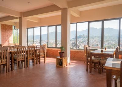 Kathmandu Yoga Retreat Dining Hall Overlooking Himalayas